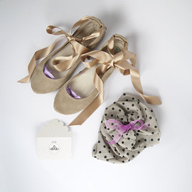 elehandmade - Blush Nude Rose Smoke Leather Suede Handmade Ballet Flats with Ankle Satin Ribbon