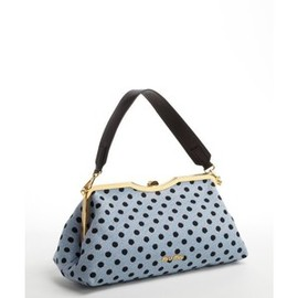 miu miu - Miu Miu Sky Blue Jacquard Tote With Leather Strap