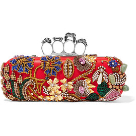 Alexander McQueen - Knuckle embellished satin clutch