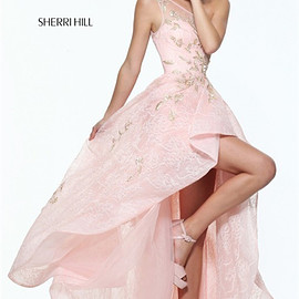 sherri hill dresses - Light Pink Appliques Sherri Hill 50968 One Shoulder Hi-Low Prom 2017 Dresses