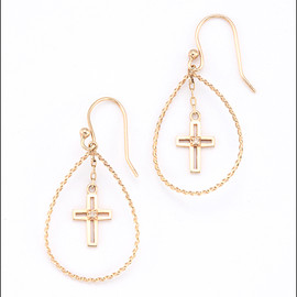 Enasoluna - Drop cross charm pierced