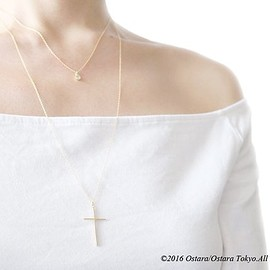 iichi - 【14KGF】Long Necklace,Matt Gold Skinny Cross