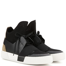BALENCIAGA - Fabric and leather high-top sneakers