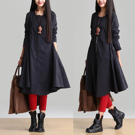 etsy - dark blue  round neck long-sleeved dress / cardigan cotton casual dress