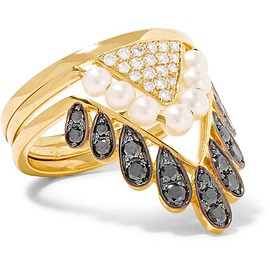Yvonne Léon - Set of three 18-karat gold, diamond and pearl rings