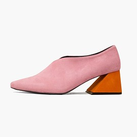 REJINA PYO - PRE ORDER / Pink Suede Upper with Orange Heel