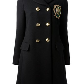 MOSCHINO - embroidered crest overcoat