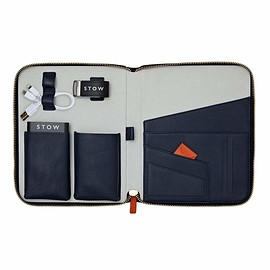 STOW - The First Class Leather Tech Case - Sapphire Blue & Pale Grey