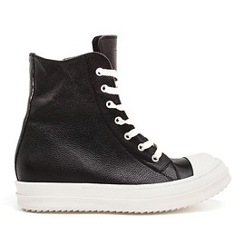 RICK OWENS - Grained Leather Trainers
