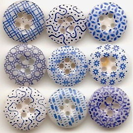 1800s Antique Calico China Buttons