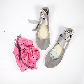 elehandmade - Cool Gray Leather Suede Handmade Ballet Flats with Ankle Satin Ribbon