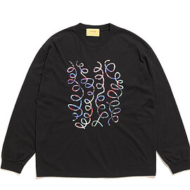 SEVEN BY SEVEN - Print On Embroidery Tee L/S-Whirl-Black