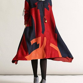 DRESS - Sweater dress in Red, Soft comfortable loose asymmetric Women Clothing