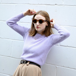 . - Vintage Lilac Ribbed Crop Jumper