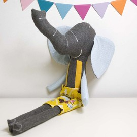 Luulla - Ludovico the soft toy elephant * blue and yellow