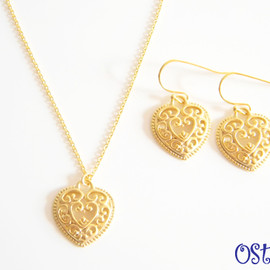 Ostara - 14kgf chain/16k Gold Plated Square Necklace&Earrings