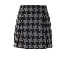 CARVEN - Oversized hound's-tooth wool skirt