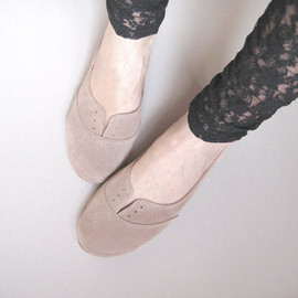 Gray Soft Suede Scalloped Handmade Ballet Flats