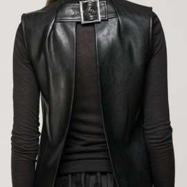 FrontRowShop - Leather vest with back belt detail