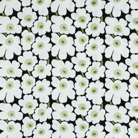 marimekko - mini unikko white/black/light green fabric