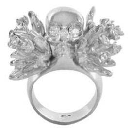 Alexander McQueen - Silver Atom Flower Skull Cocktail Ring