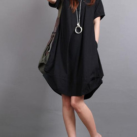 dress - Summer dress/ cotton pleated Short sleeve dress with decorative buttons/ simple black lantern dress