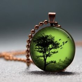 Copper emerald sunset tree domed resin pendant