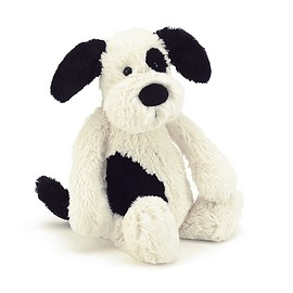 JellyCat - Bashful Black & Cream Puppy Medium_BAS3BCP