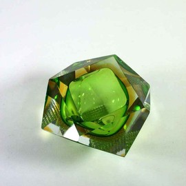 Murano Sommerso - prism cut yellow & green bowl