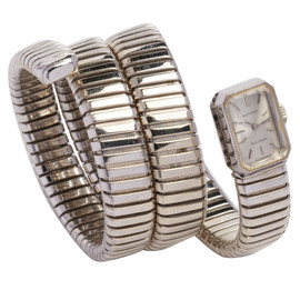 BVLGARI - White Gold Serpent Bracelet Watch by Movado circa 1960s