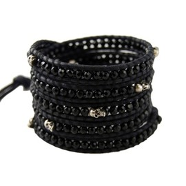 Chan Luu - Onyx Wrap Bracelet with Sterling Silver Skulls on Dark Blue Leather
