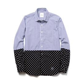 uniform experiment - 2 TONE DOT STRIPE REGULAR COLLAR SHIRT