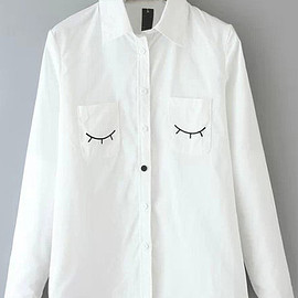 White Long Sleeve Eyelash Print Pockets Blouse pictures