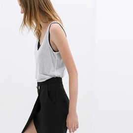 ZARA - TWO-LAYER BUTTON-UP SKIRT