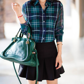 Equipment - Equipment Contrast Sleeves Signature Plaid Blouse