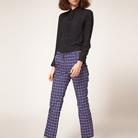 Peter Jensen - Printed Slim Tailored Pants with Flat Front