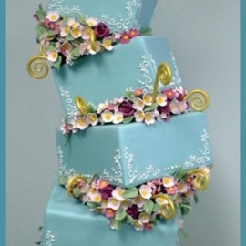 blue gift box wedding cake