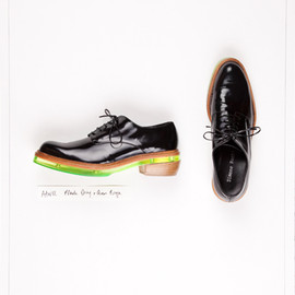 Simone Rocha - AW12 Black Leather Green Perspex Brogue