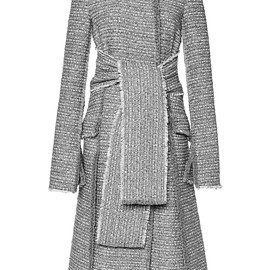 PROENZA SCHOULER - FW2015 Slub Tweed Suiting Long Double Breasted Coat