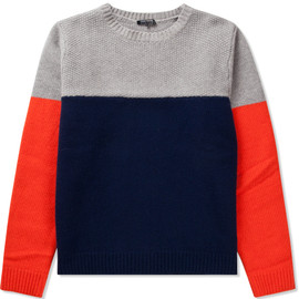 Cash Ca - Grey/Navy/Orange 3 Tone Color Sweater