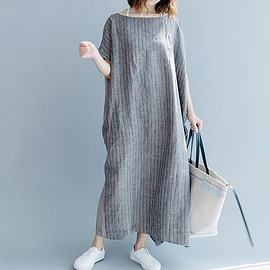 loose Women dresses - plus size clothing loose Women dresses gray with pockets Maxi Dress Asymmetric sleeve dress