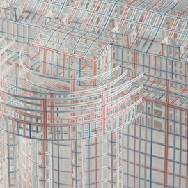 jill sylvia - intricately cut ledger paper structures 帳簿用紙で創り出す建築物