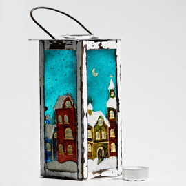 NevenaArtGlass - Lamp Candle Holder Hand Painted Christmas Night