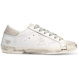 Golden Goose Deluxe Brand - Super Star distressed suede-paneled leather sneakers