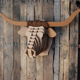 Cardboard Safari - Tex - large longhorn trophy