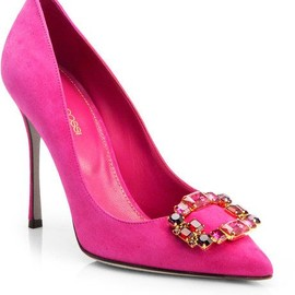 Suede Peep Toe Pumps (Pink)