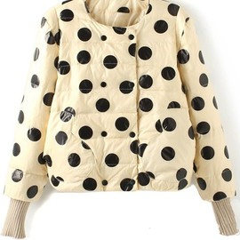 Beige Polka Dot Buttons Pockets Polyester Padded Coat