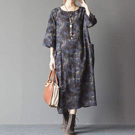 Loose fitting dress - women Cotton and linen oversized loose dress Comfortable maternity dress