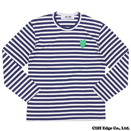 PLAY COMME des GARCONS  (プレイ コムデギャルソン) - ボーダー グリーンハート 長袖Tシャツ  NAVY 202-000765-057x