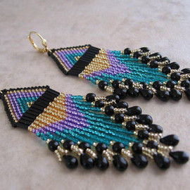 pattimacs - Seed Bead Beadwoven Earrings - Purple/Teal/Black -
